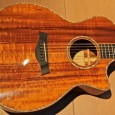 Taylor K24-CE, 2007. This is made of KOA. It looks astounding. It sounds quite good too.